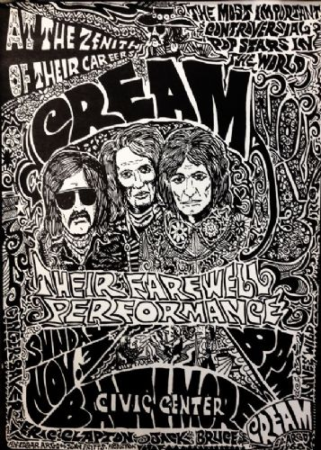 CREAM - Live Baltimore 1968 canvas print - self adhesive poster - photo print